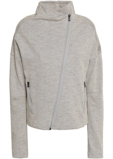Adidas Woman Mélange Cotton-blend Jersey Track Jacket Stone