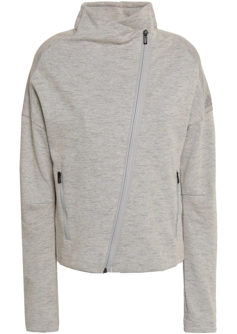Adidas Woman Mélange Cotton-blend Jersey Track Jacket Stone