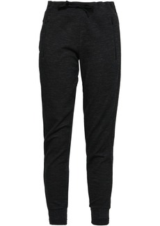 Adidas Woman Mélange Cotton-blend Jersey Track Pants Black