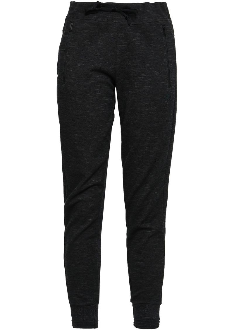Adidas Woman Mélange Cotton-blend Jersey Track Pants Black