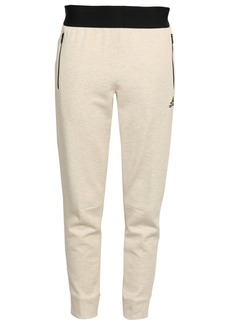 Adidas Woman Mélange Cotton-blend Jersey Track Pants Cream