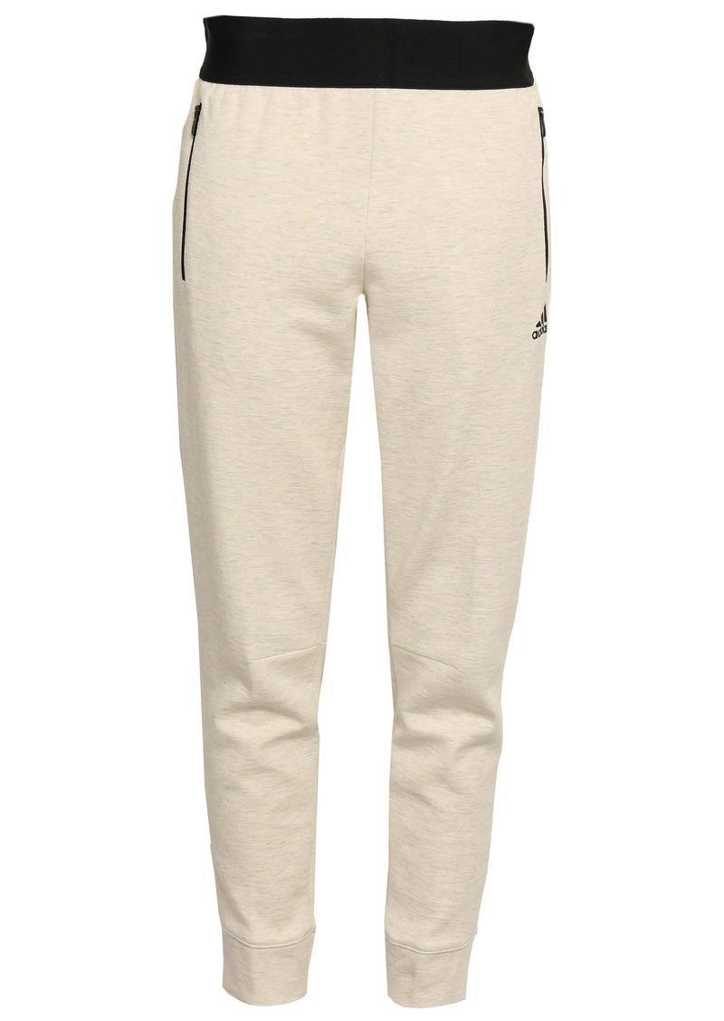 Adidas Woman Mélange Cotton-blend Jersey Track Pants Cream