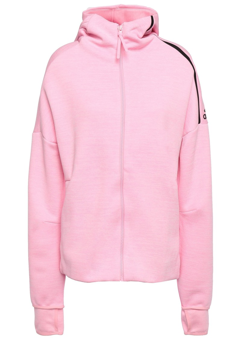 Adidas Woman Mélange Jersey Hooded Track Jacket Baby Pink