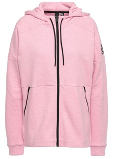Adidas Woman Mélange Printed Cotton-blend Jersey Hoodie Baby Pink