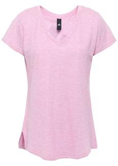 Adidas Woman Mélange Printed Cotton-blend Jersey T-shirt Pink