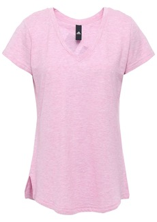 Adidas Woman Mélange Printed Cotton-blend Jersey T-shirt Pink