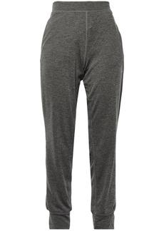 Adidas Woman Mélange Stretch-jersey Track Pants Dark Gray