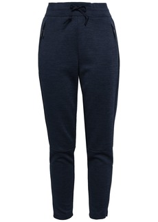 Adidas Woman Mélange Tech-jersey Track Pants Midnight Blue