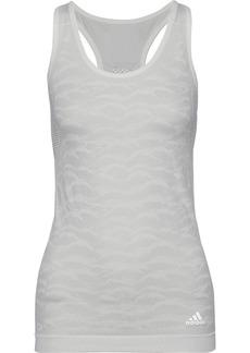 Adidas Woman Open Knit-paneled Jacquard Tank Off-white
