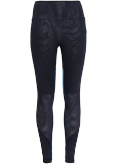 Adidas Woman Paneled Printed Stretch Leggings Midnight Blue