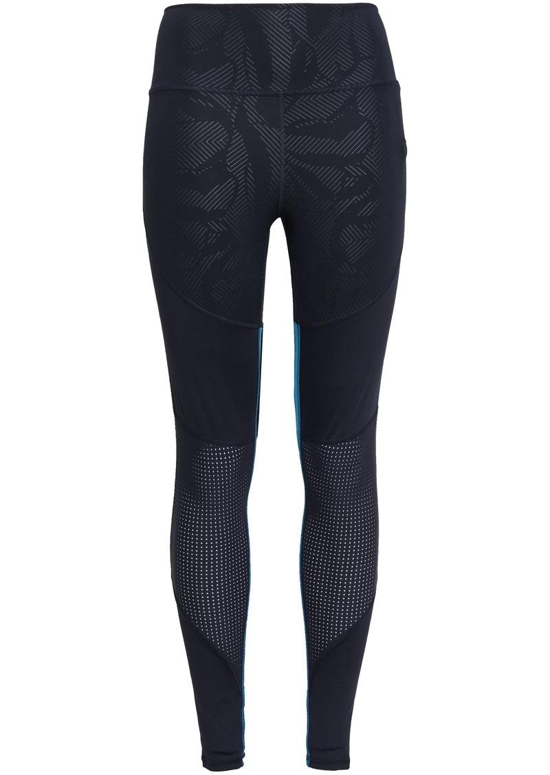 Adidas Woman Paneled Printed Stretch Leggings Midnight Blue