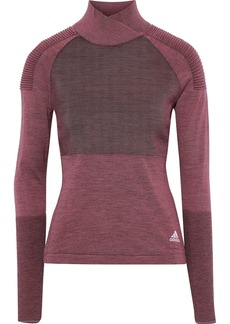 Adidas Woman Paneled Ribbed-knit Top Plum