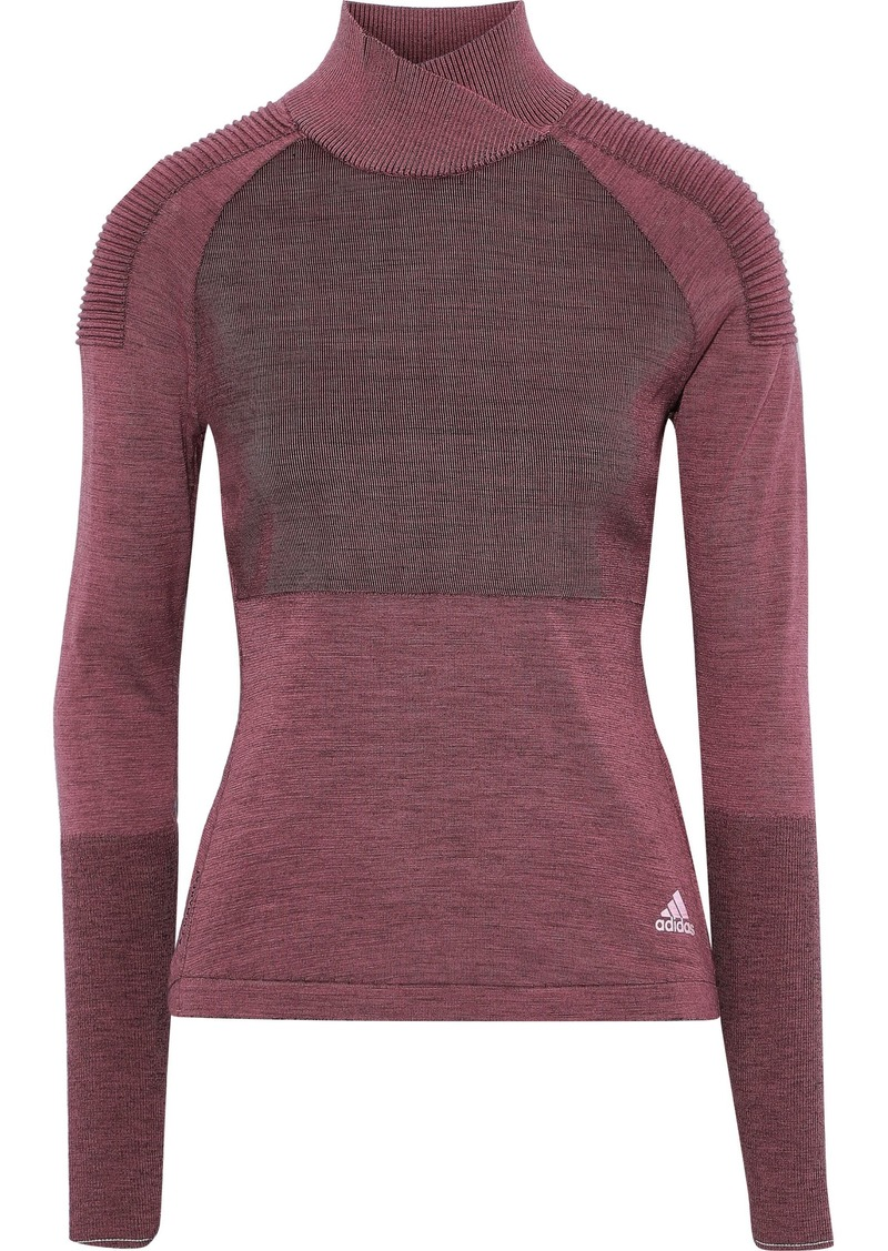Adidas Woman Paneled Ribbed-knit Top Plum