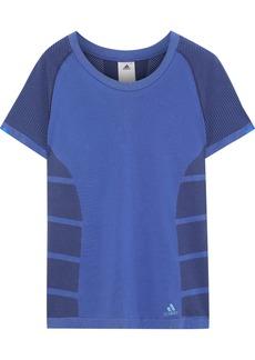 Adidas Woman Paneled Stretch-knit T-shirt Blue
