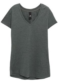 Adidas Woman Printed Slub Cotton-blend Jersey T-shirt Grey Green