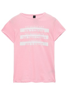 Adidas Woman Printed Cotton-jersey T-shirt Baby Pink