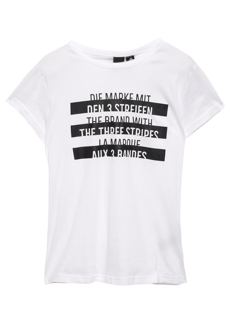 Adidas Woman Printed Cotton-jersey T-shirt White