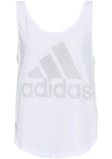Adidas Woman Printed Cotton-jersey Tank White