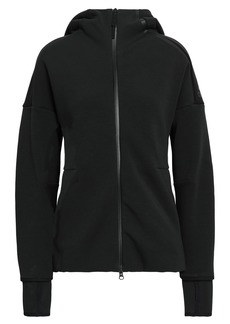Adidas Woman Printed French Cotton-blend Terry Hoodie Black