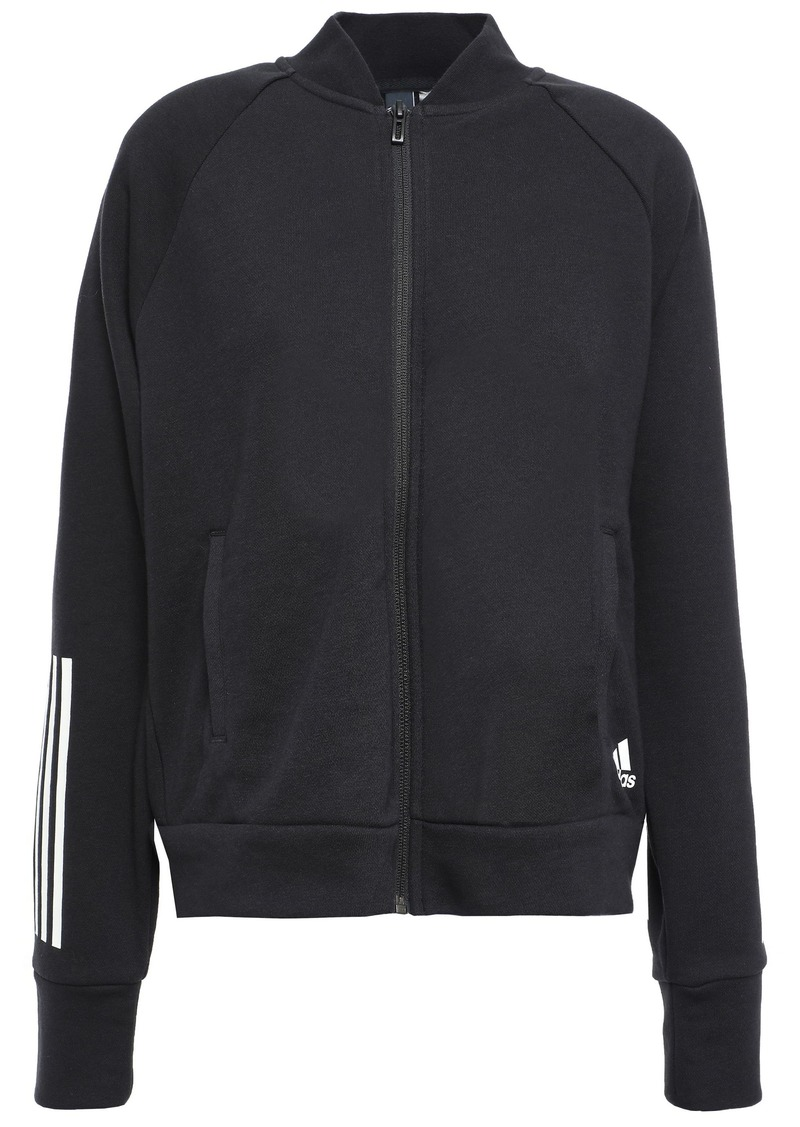 Adidas Woman Printed French Cotton-blend Terry Track Jacket Black