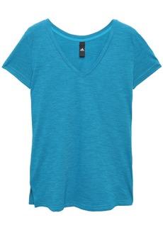 Adidas Woman Printed Mélange Cotton-blend Jersey T-shirt Azure