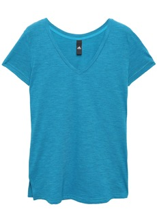 Adidas Woman Printed Mélange Cotton-blend Jersey T-shirt Azure