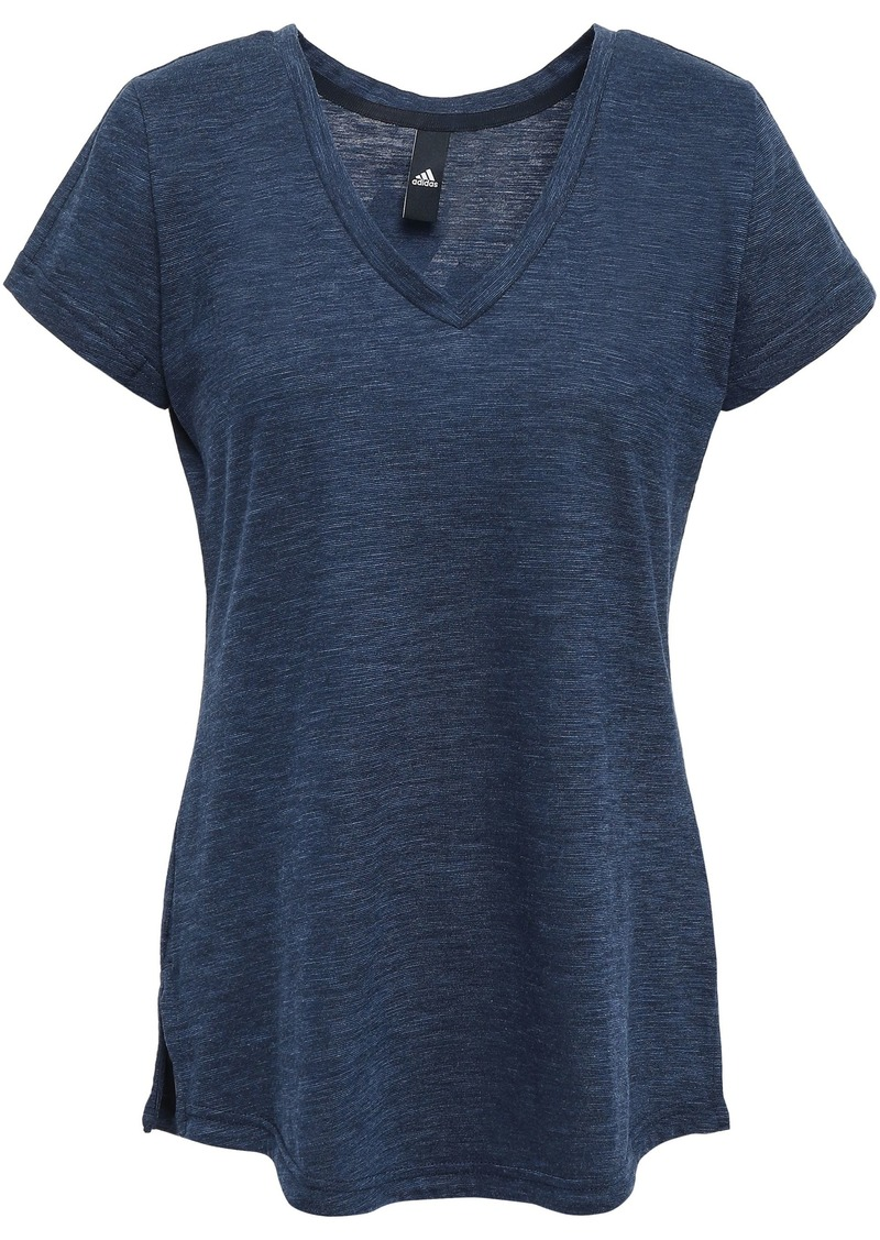 Adidas Woman Printed Mélange Cotton-blend Jersey T-shirt Storm Blue