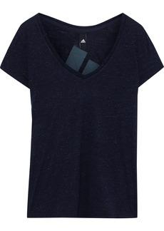 Adidas Woman Printed Mélange Jersey T-shirt Storm Blue