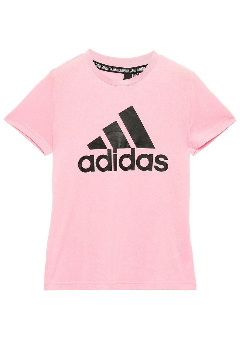 Adidas Woman Printed Slub Jersey T-shirt Baby Pink