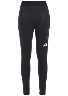 Adidas Woman Printed Stretch-cotton Jersey Leggings Black