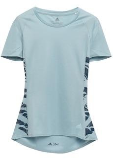 Adidas Woman Printed Stretch-mesh T-shirt Sky Blue