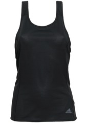 Adidas Woman Reflective-trimmed Tech-jersey And Mesh Tank Black