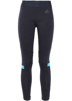 Adidas Woman Shell-trimmed Printed Stretch-cotton Jersey Leggings Navy