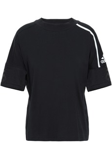Adidas Woman Striped Mesh And Cotton-jersey T-shirt Black