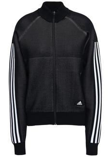Adidas Woman Striped Mesh Track Jacket Black