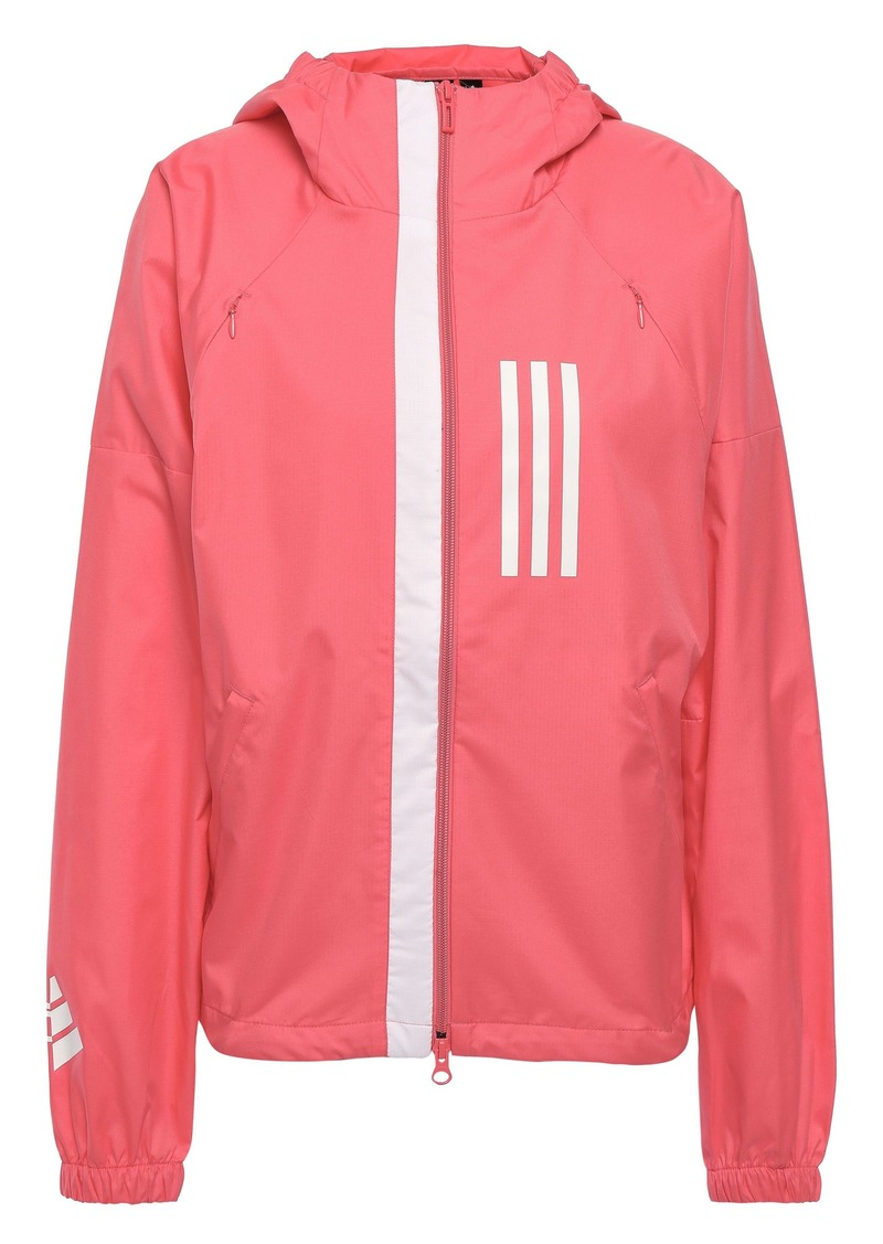 Adidas Woman Striped Shell Hooded Jacket Coral