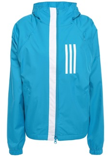Adidas Woman Striped Shell Hooded Track Jacket Turquoise
