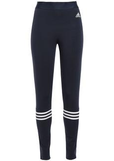 Adidas Woman Striped Stretch-cotton Jersey Leggings Navy