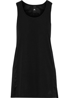 Adidas Woman Striped Stretch-jersey And Mesh Tank Black
