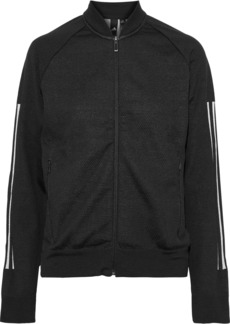 Adidas Woman Striped Stretch-jersey And Mesh Track Jacket Black