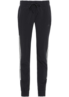 Adidas Woman Striped Tech-jersey Track Pants Black