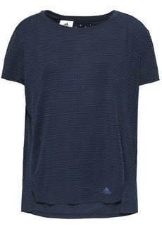 Adidas Woman Striped Textured-jersey T-shirt Charcoal