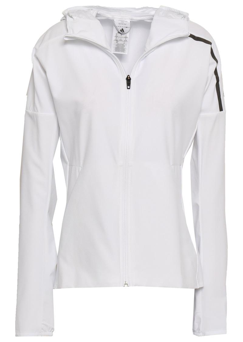 Adidas Woman Tech-jersey Hooded Track Jacket White