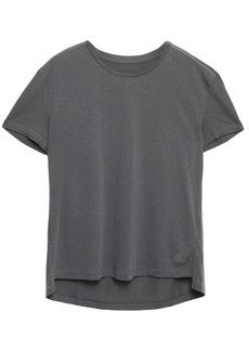 Adidas Woman Textured-jersey T-shirt Dark Gray