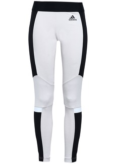 Adidas Woman Two-tone Stretch-cotton Jersey Leggings Off-white