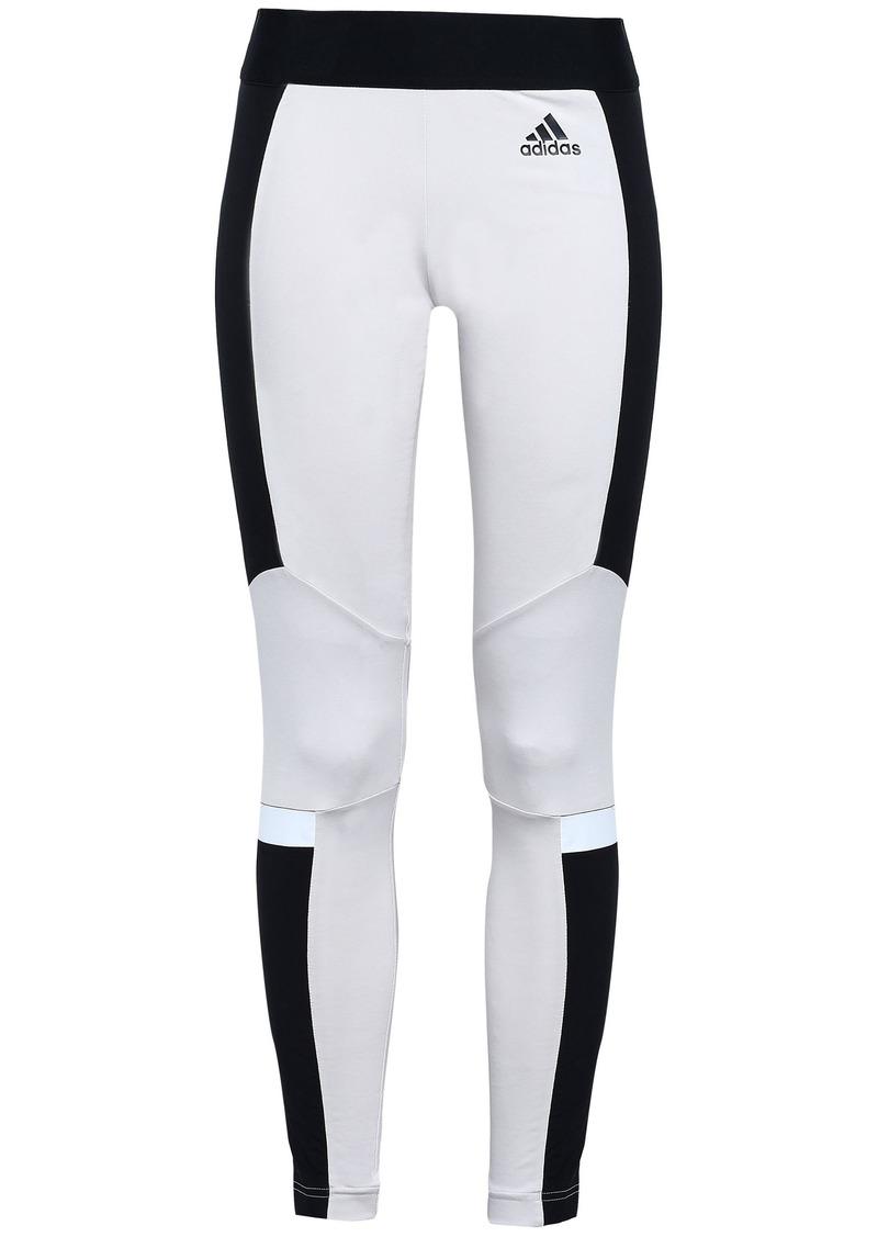 Adidas Woman Two-tone Stretch-cotton Jersey Leggings Off-white