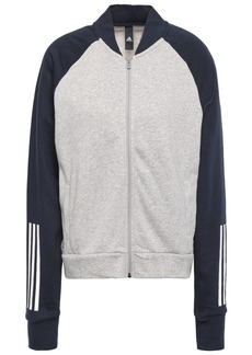 Adidas Woman Two-tone Printed French Cotton-blend Terry Track Jacket Light Gray