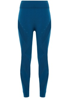Adidas Woman Warp Knit Mesh-trimmed Stretch Leggings Cobalt Blue