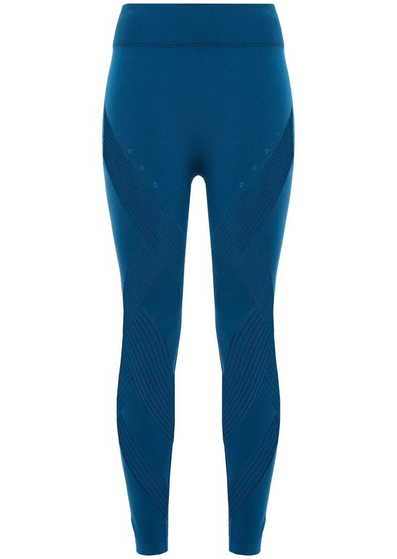 Adidas Woman Warp Knit Mesh-trimmed Stretch Leggings Cobalt Blue