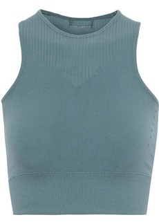 Adidas Woman Warpknit Cropped Stretch Top Slate Blue